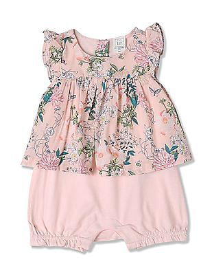 GAP Baby Pink Print Flutter Double-Layer One-Piece