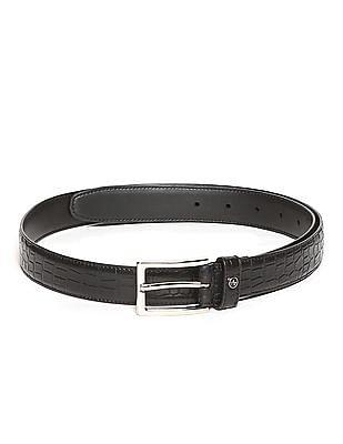 Arrow Black Textured Leather Belt
