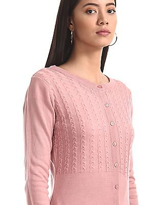 Cherokee Pink Buttoned Cable Knit Cardigan