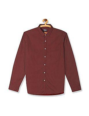 Flying Machine Red Barrel Cuff Star Print Shirt