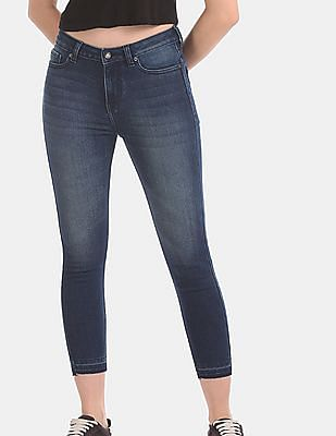 Aeropostale Blue Open Hem Washed Jeans