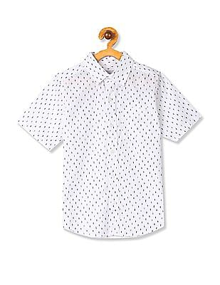 The Children's Place Boys White Short Sleeve Print Poplin Button Down Shirt