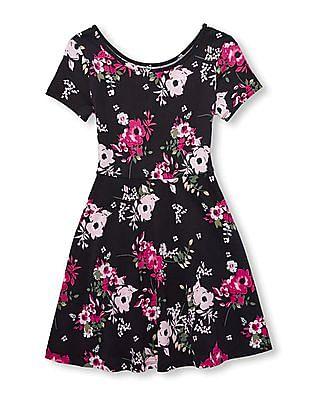 The Children's Place Girls Short Sleeve Floral Print Knit Dress