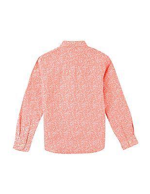 U.S. Polo Assn. Kids Boys Mandarin Collar Printed Shirt