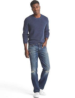 GAP Men Blue Original 1969 Destructed Vintage Straight Fit Jeans