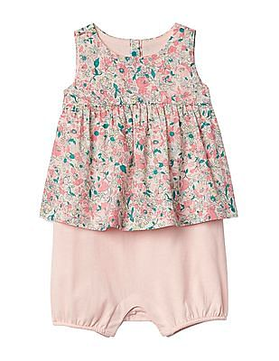 GAP Baby Pink Floral Double-Layer Shorty One-Piece