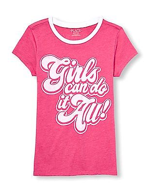 The Children's Place Girls Short Sleeve 'Girls Can Do It All!' Graphic Tee