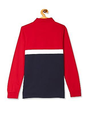 U.S. Polo Assn. Kids Red Boys Colour Block Long Sleeve Polo Shirt