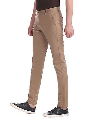 U.S. Polo Assn. Brown Austin Trim Regular Fit Solid Trousers