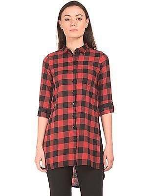 Flying Machine Women Regular Fit Check Longline Shirt