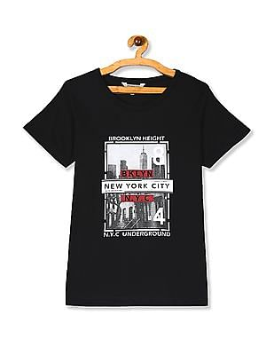 Cherokee Black Front Print Round Neck T-Shirt