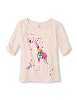 The Children's Place Girls White Elbow Sleeve Graphic Top