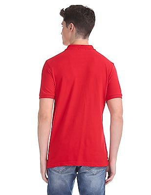 Flying Machine Red Solid Pique Polo Shirt