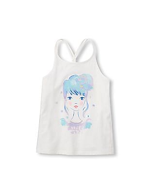 The Children's Place Girls Sleeveless Embellished Graphic Braided Back Tank Top