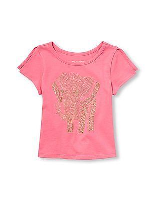 The Children's Place Toddler Girl Matchables Short Slit Sleeve Embellished Graphic Top
