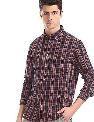 Cherokee Orange Spread Collar Check Shirt