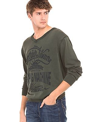 Flying Machine V-Neck Printed Sweater