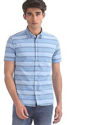 Flying Machine Blue Horizontal Stripe Cotton Shirt