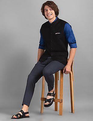 True Blue Black Slim Fit Patterned Bandi