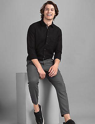True Blue Black Slim Fit Solid Shirt