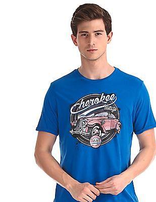Cherokee Blue Crew Neck Printed T-Shirt