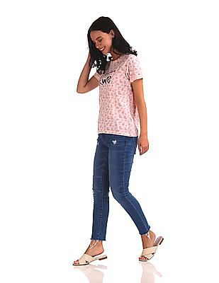 SUGR Short Sleeve Floral Print T-Shirt