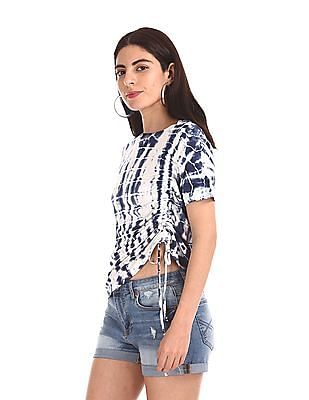 Aeropostale Blue Ruched Side Tie And Dye Top