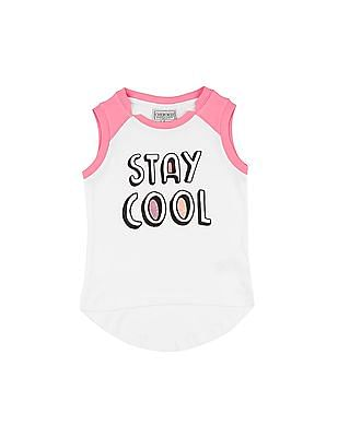 Cherokee Girls Printed Front Colour Block Top