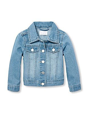 The Children's Place Baby Girl Washed Denim Jacket