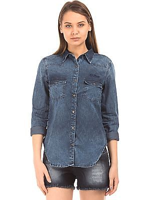 EdHardy Women Washed Chambray Shirt