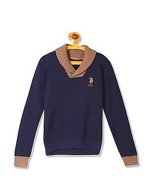 U.S. Polo Assn. Kids Boys Shawl Collar Long Sleeve Sweater