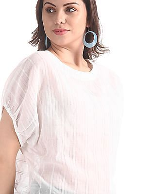 Flying Machine Women White Metallic Weave Boxy Top