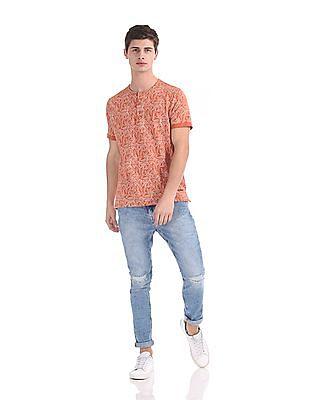 Cherokee Short Sleeve Printed Henley T-Shirt