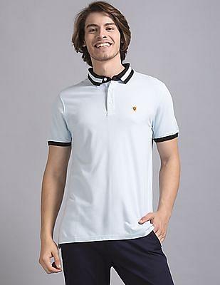 True Blue Blue Slim Fit Solid Polo Shirt