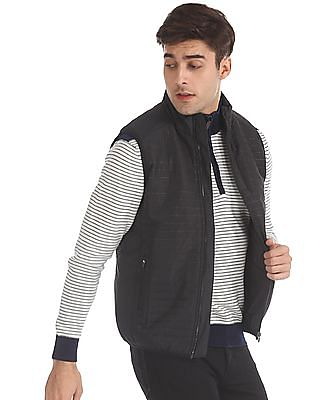 Arrow Sports Black Textured Gilet Jacket