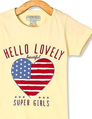 Cherokee Yellow Girls Crew Neck Heart Print T-Shirt