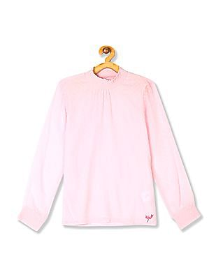 U.S. Polo Assn. Kids Pink Girls Smocked Dobby Top