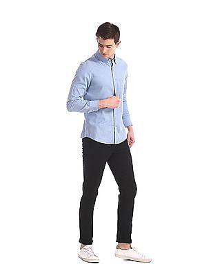 Arrow Sports Black Chrysler Slim Fit Twill Trousers