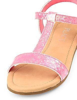 The Children's Place Girls Pink Glitter T-Strap Sandals