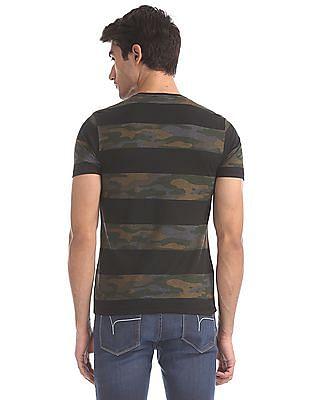 Flying Machine Black And Green Crew Neck Camo Stripe T-Shirt