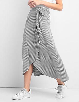 GAP Striped Wrap Midi Skirt