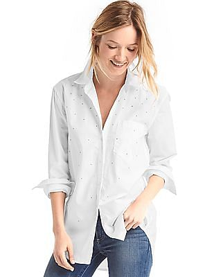 GAP Boyfriend Stud Embellished Shirt
