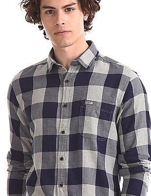 U.S. Polo Assn. Denim Co. Navy And Grey Cotton Check Shirt