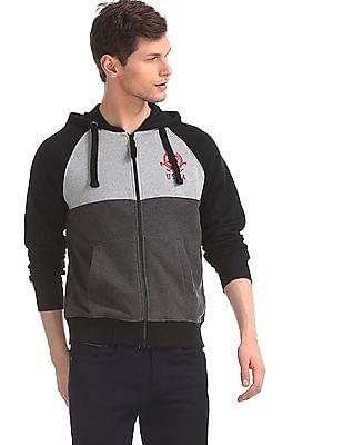 U.S. Polo Assn. Grey And Black Hooded Panelled Sweatshirt