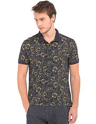 Ed Hardy Regular Fit Floral Print Polo Shirt
