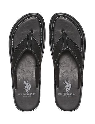 U.S. Polo Assn. Black Perforated V-Strap Sandals
