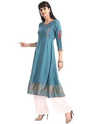 Anahi Blue Printed Hem Anarkali Kurta