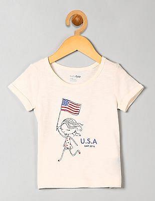 GAP Baby White National Flag Graphic Tee