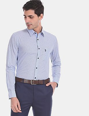USPA Tailored Men Blue Tailored Regular Fit All Over Print Formal Shirt