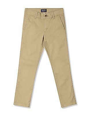 The Children's Place Boys Beige Skinny Fit Cotton Stretch Chinos